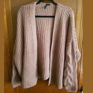 Moon & Madison Pink ChunkyCardigan Sweater M